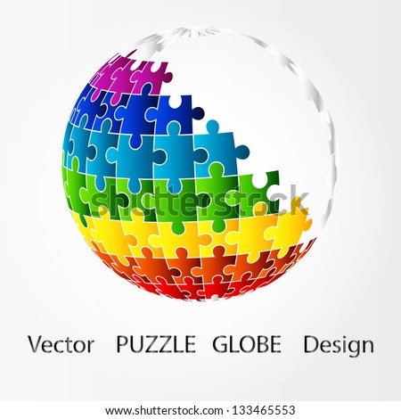 3D puzzle globe design - stock vector