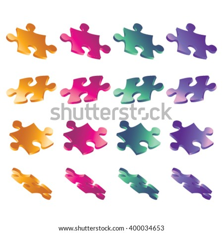 3D puzzle set in 4 different color and position - stock vector