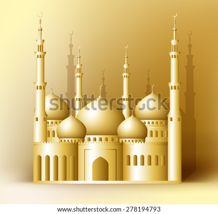 3d Realistic Golden Detailed Mosque or Masjid Reflected for Islam and Ramadan Celebrations Background. Editable Vector Illustration. - stock vector