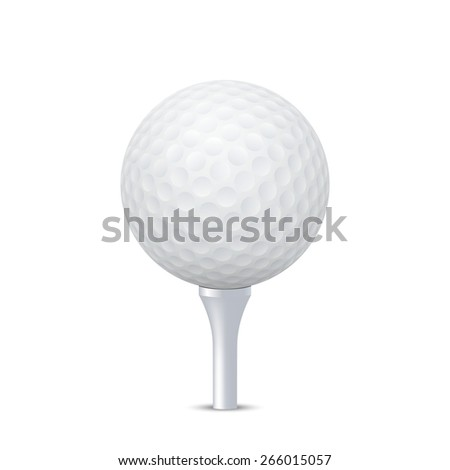 3d realistic golf ball on white tee - isolate. Vector EPS10 illustration.  - stock vector