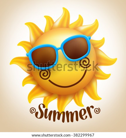 3D Realistic Happy Smiling  Cute Sun Vector with Colorful Sunglasses with Summer Title. Vector Illustration  - stock vector