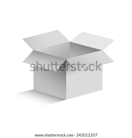 3D realistic isolated gray opened box on white background. Vector illustration - stock vector