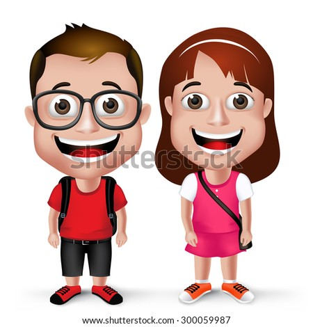 3D Realistic Kids School Boy and Girl Student Wearing Casual with Backpack and Eyeglass Isolated in White Background. Vector Illustration - stock vector