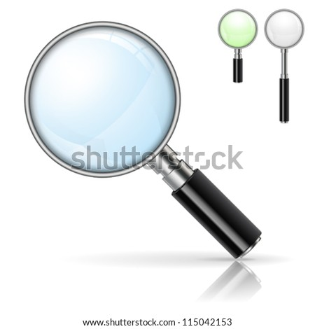 3D Realistic Magnifying Glass (Loupe) with Options Color and Size, isolated on white background - stock vector