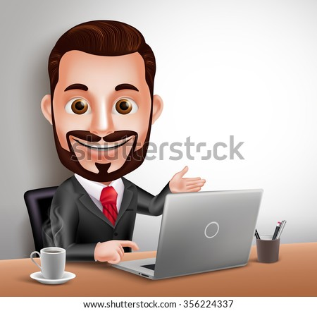 3D Realistic Professional Business Man Vector Character Happy Sitting and Working in Office Desk with Laptop Computer. Vector Illustration  - stock vector
