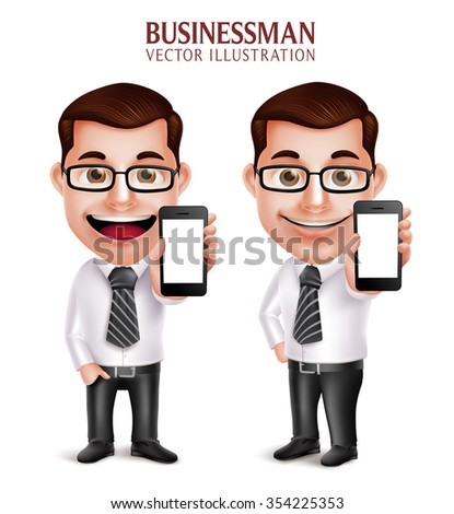 3D Realistic Professional Business Man Vector Character Holding Mobile Phone with Empty Screen Isolated in White Background. Vector Illustration  - stock vector
