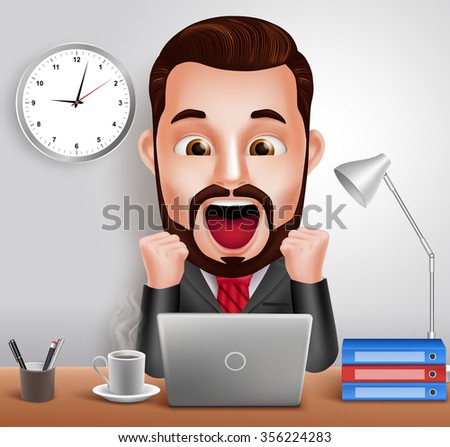 3D Realistic Professional Business Man Vector Character with Shocked and Surprised Expression Working in Office Desk with Laptop Computer. Vector Illustration  - stock vector