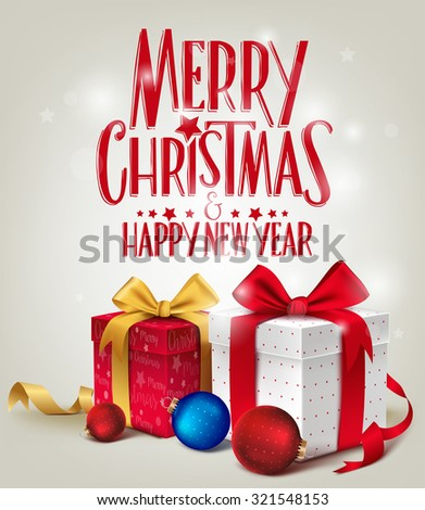 3D Realistic Red Gifts with Merry Christmas Greeting for Card or Poster Design with Glossy Background. Vector Illustration  - stock vector