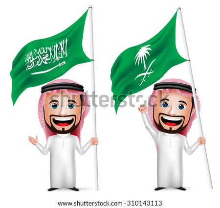 3D Realistic Saudi Arab Man Cartoon Character Holding and Waving Saudi Arabia Flag for National Day  Isolated in White. Vector Illustration.  - stock vector