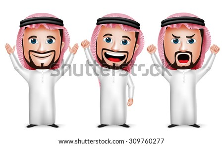3D Realistic Saudi Arab Man Cartoon Character Raising Hands Up Gesture Wearing Thobe Isolated in White Background. Set of Vector Illustration.  - stock vector