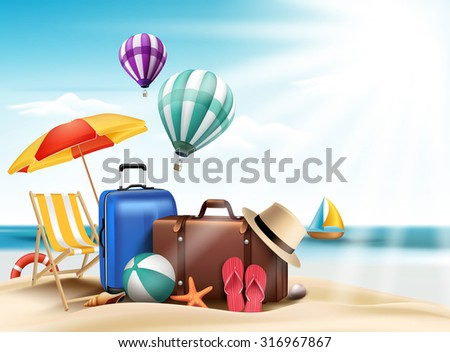 3D Realistic Summer Travel and Vacation Poster Design with Editable Beach Elements. Vector Illustration  - stock vector