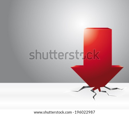 3d red arrow breaking iced floor. Sales or crisis concept. Vector illustration. - stock vector