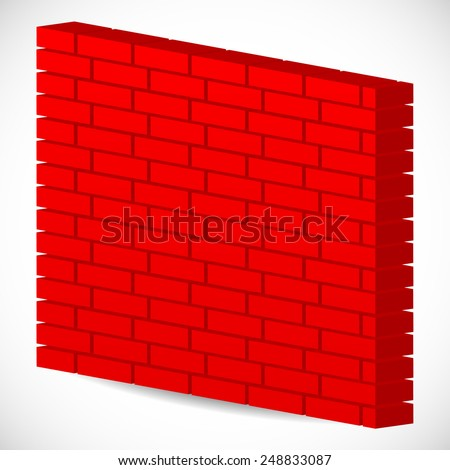 3d red brick wall. Firewall - stock vector