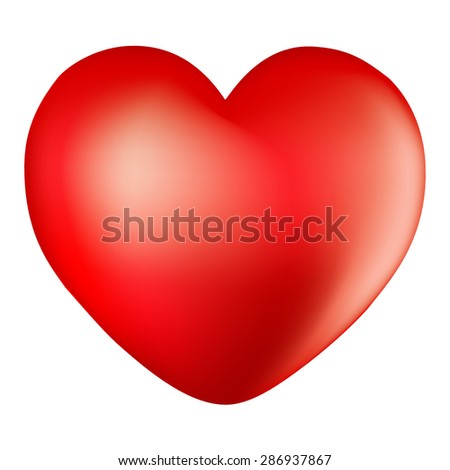 3d red heart - stock vector