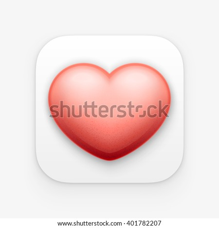 3d red Heart, valentine heart app icon. Vector illustration. Isolated on white - stock vector