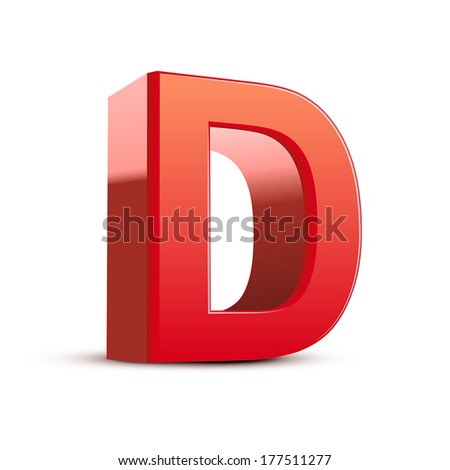 3d red letter D isolated white background - stock vector