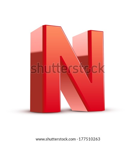 3d red letter N isolated white background - stock vector