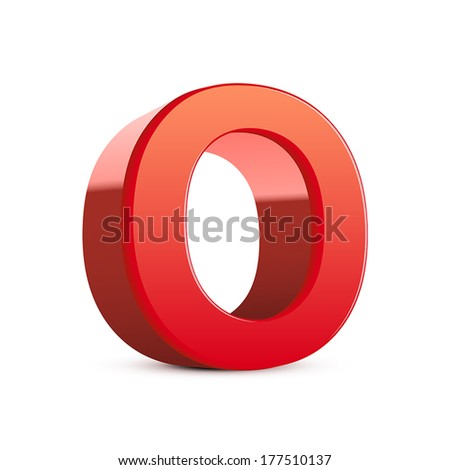 3d red letter O isolated white background - stock vector