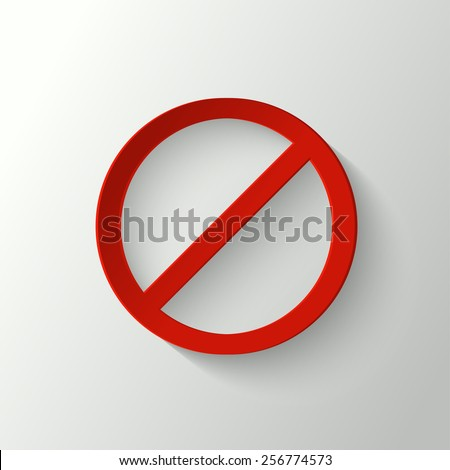 3d red prohibition sign - stock vector