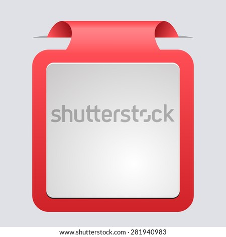 3d red sticker for placing information. design element for web, printing - stock vector