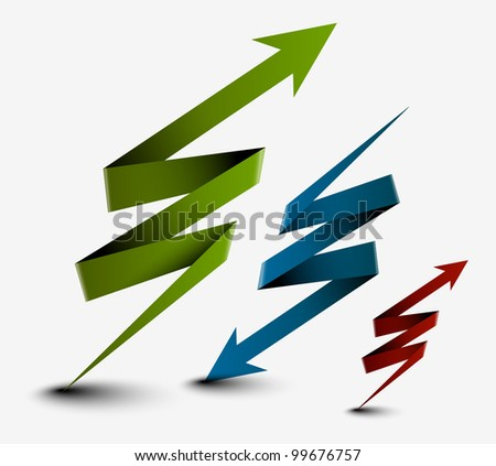 3d ribbon arrows design. Vector illustration - stock vector