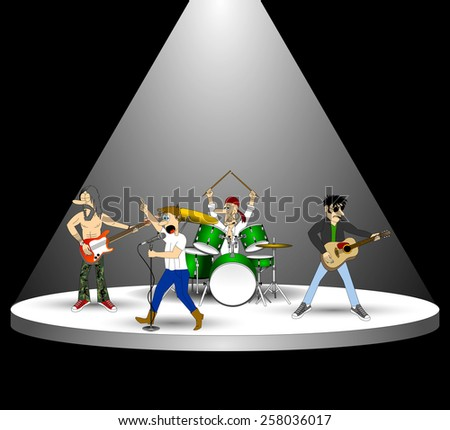 3d rock band musicians with instruments and microphone on performance stage under the light of spotlight on the concert. podium in the dark. vector art image illustration, isolated on black background - stock vector