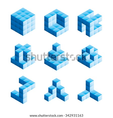 3D shapes created from building blocks - stock vector