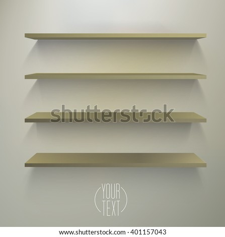 3D Shelves With Spotlight Shadows, Brown Edition for Your Products Display Background - stock vector