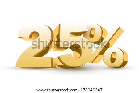 3d shiny golden discount collection - 25 percent isolated white background - stock vector