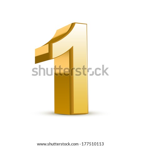 3d shiny golden number 1 on white background - stock vector