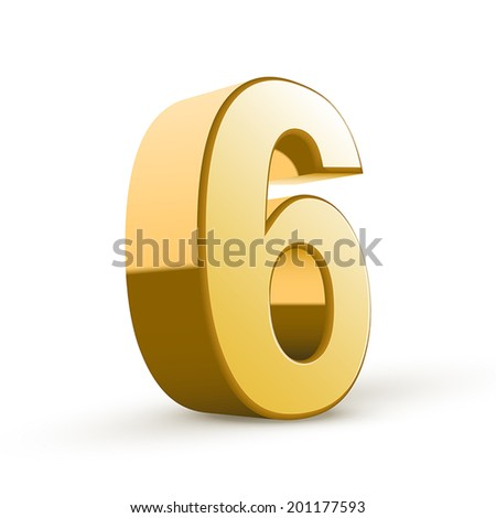 3d shiny golden number 6 on white background - stock vector