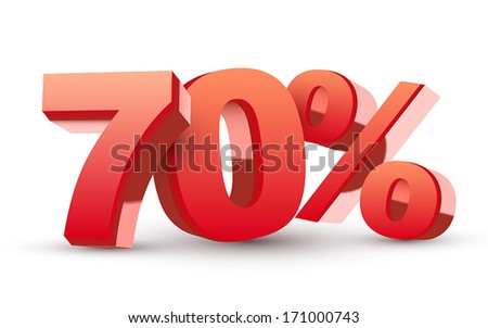 3d shiny red discount collection - 70 percent isolated white background - stock vector