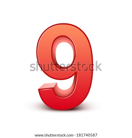 3d shiny red number 9 on white background - stock vector