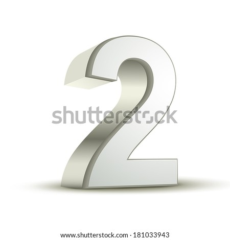 3d shiny silver number 2 on white background - stock vector