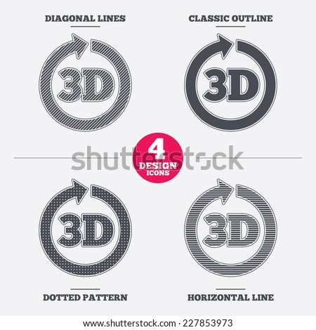 3D sign icon. 3D New technology symbol. Rotation arrow. Diagonal and horizontal lines, classic outline, dotted texture. Pattern design icons.  Vector - stock vector