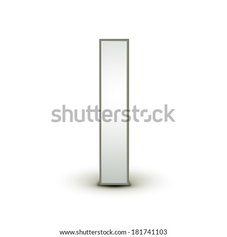 3d silver letter I isolated white background - stock vector