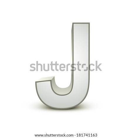 3d silver letter J isolated white background - stock vector