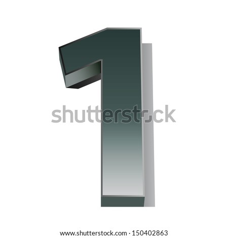 3d silver metal numbers - number 1 - stock vector