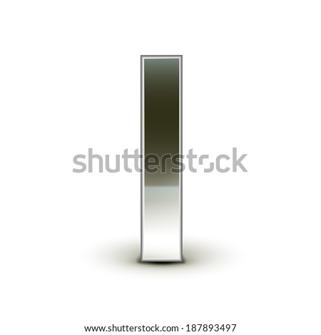 3d silver steel letter I isolated white background - stock vector