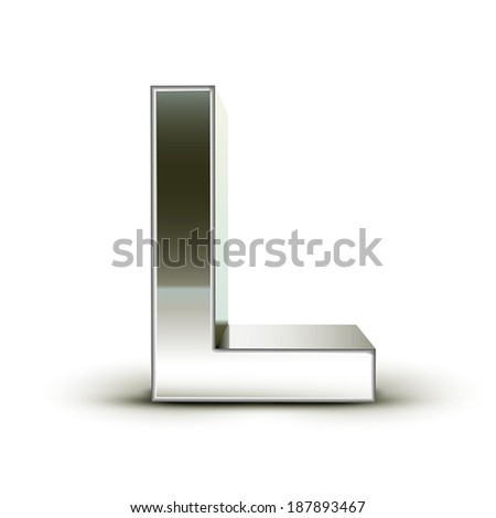 3d silver steel letter L isolated white background - stock vector
