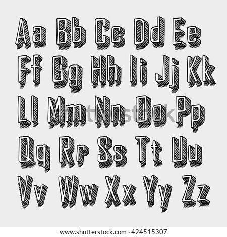 3d Sketch font. Sketch font set. Font with shadow. Alphabet on white background Vector illustration - stock vector