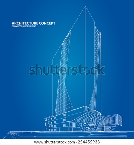 3D sketch of Modern building. - stock vector