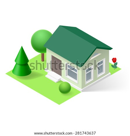 3d small home  with flowers and trees - stock vector