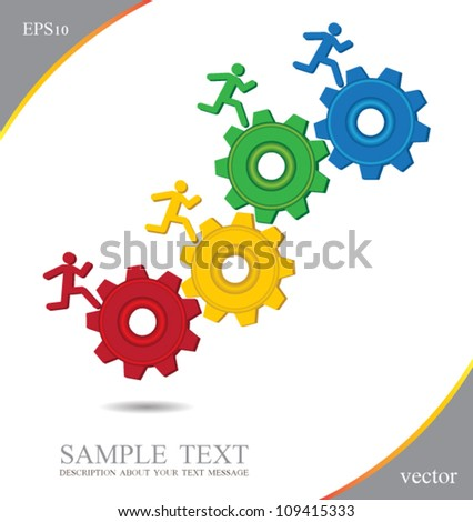 3d small 4 person rolls a gear, can use for business concept, education diagram, brochure object. - stock vector