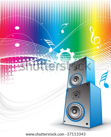 3d speaker on retro-rainbow wave lien background - stock vector