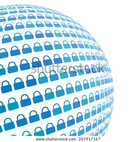 3d sphere with blue lock pattern vector background, isolated - stock vector