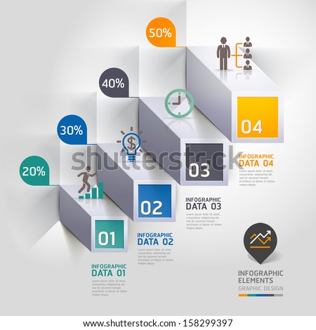 3d staircase diagram modern business step options. Vector illustration. can be used for workflow layout, banner, number options, step up options, web design, infographics. - stock vector