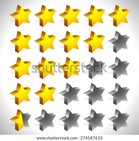 3d star rating element. Half stars and full stars included. Graphics for quality, level rating, customer feedback concepts. - stock vector