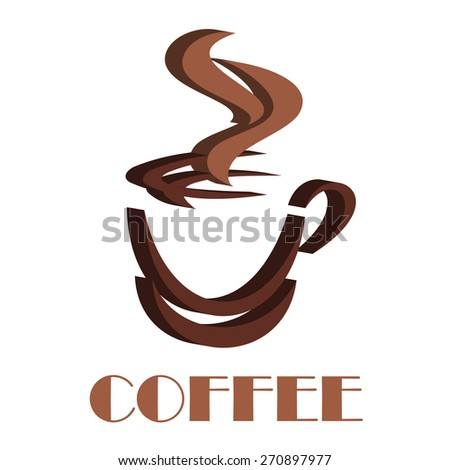 3D steaming coffee cup symbol with dark and light brown colors for fast food or drink design - stock vector