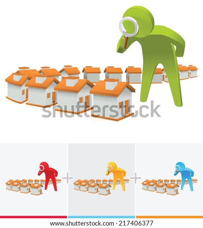 3D Stick figure inspecting houses using magnifying glass - stock vector